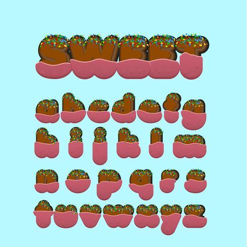 Conjunto de caracteres de fonte doce com ilustração vetorial