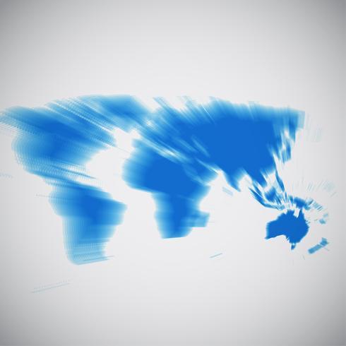Mapa del mundo se centra en Australia, ilustración vectorial
