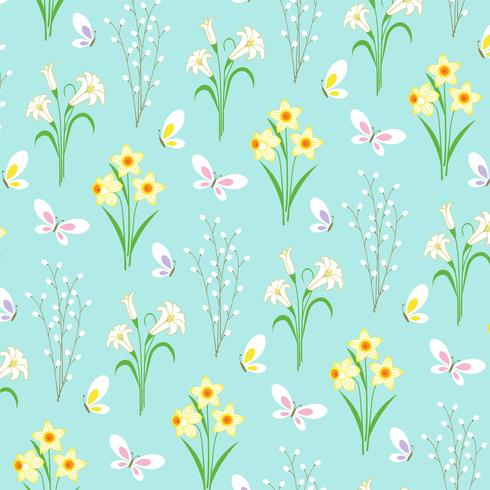 Easter floral pattern with butterflies on light blue vector