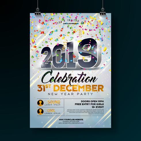 Party-Feier-Plakat des neuen Jahres.