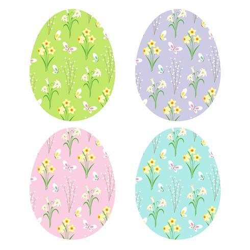 patrones florales en huevos de pascua