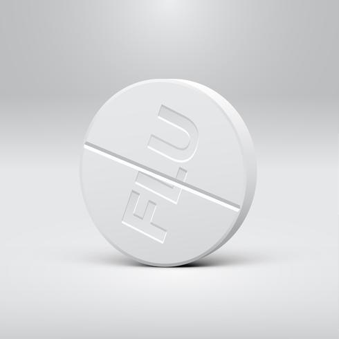 Comprimido branco sobre um fundo cinza, ilustração vetorial realista