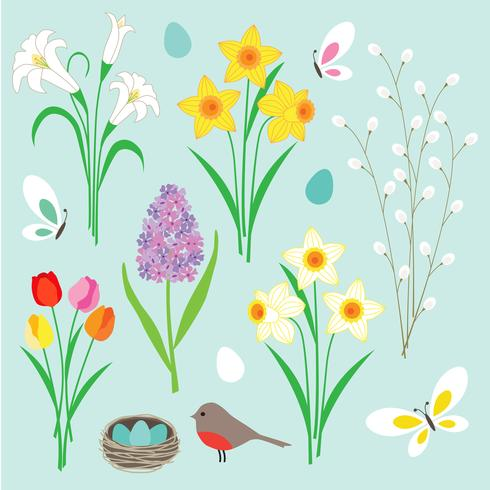 Easter flowers butterflies and robin's nest vector