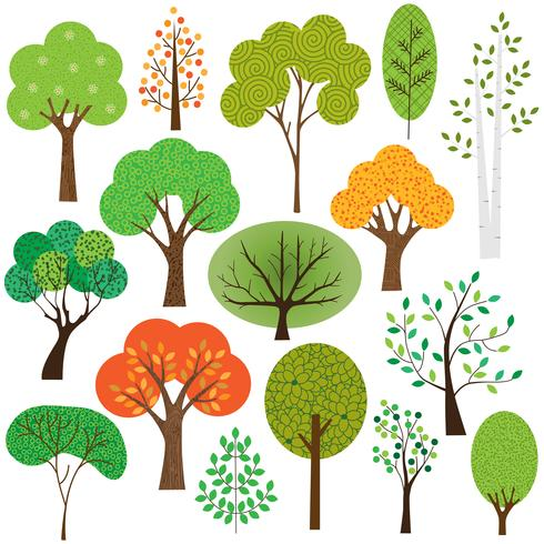 seasonal trees collection vector