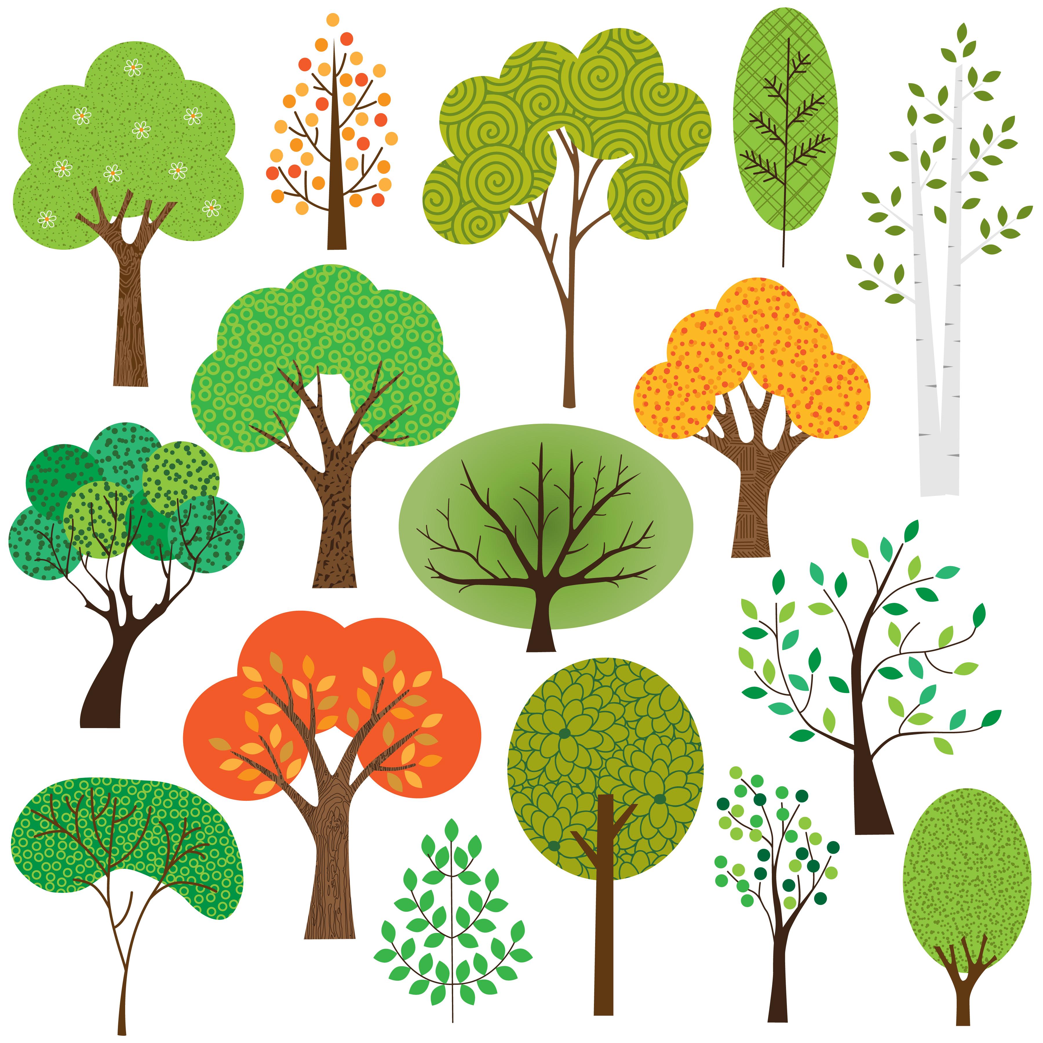 clipart trees tree vector seasonal oak vectors forest silhouette collection graphics stylized bush christmas vecteezy