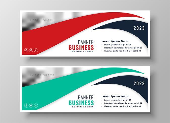 ensemble de bannières d'affaires moderne rouge et turquoise