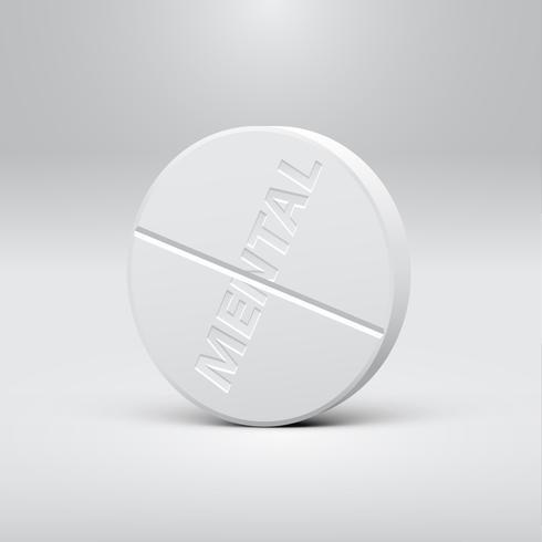 Píldora blanca sobre un fondo gris, ilustración vectorial realista vector