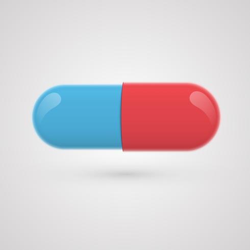 Blå-rött piller på en grå bakgrund, realistisk vektor illustration