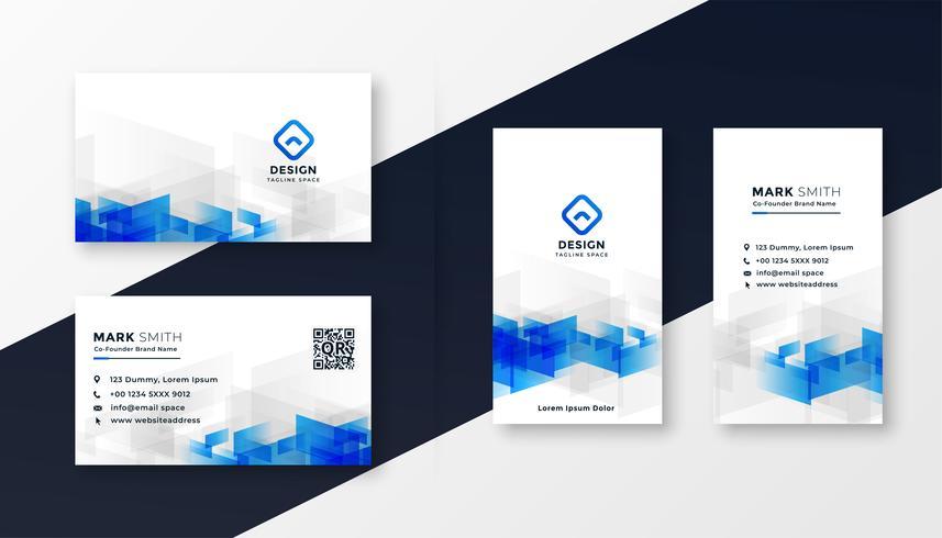 abstrakter weißer und blauer Visitenkarteschablonensatz