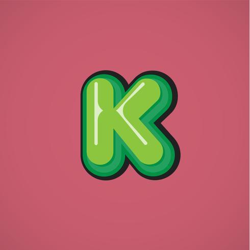 Groen komisch karakter van een fontset, vectorillustratie