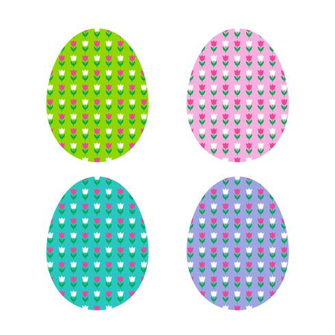 Easter egg shapes with tulip pattern vector