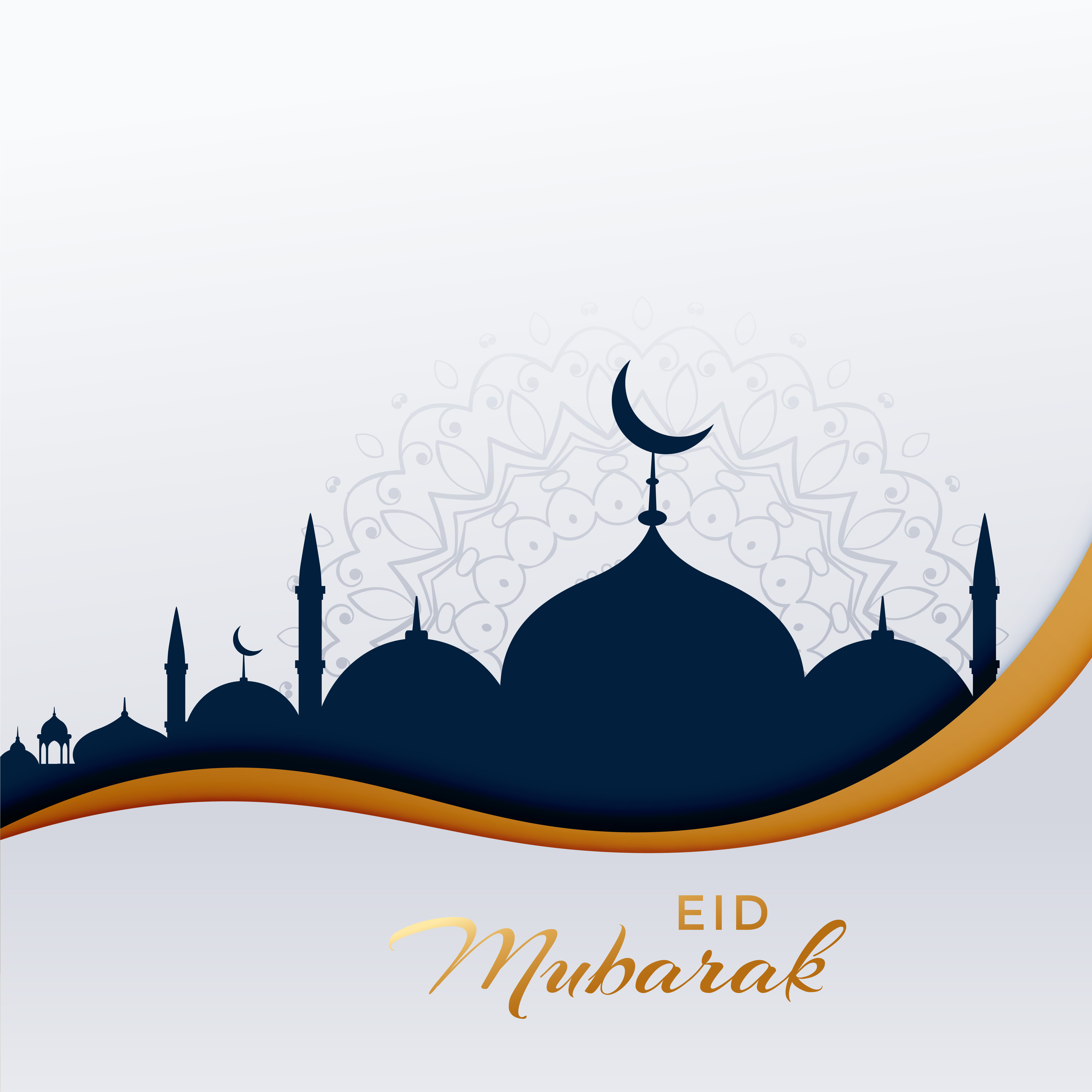 eid mubarak islamic greeting with mosque - Download Free ...