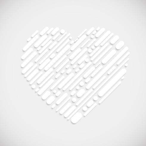 Forma blanca de un corazón, ilustración vectorial