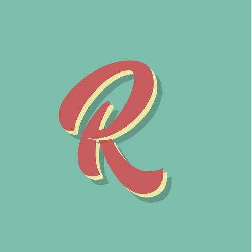 Retro karakter van een lettertype, vectorillustratie