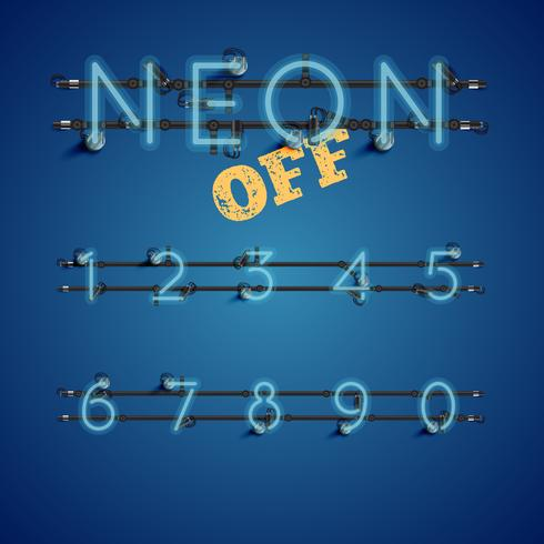 Conjunto de caracteres de neón realista amarillo con cables y consola, ilustración vectorial