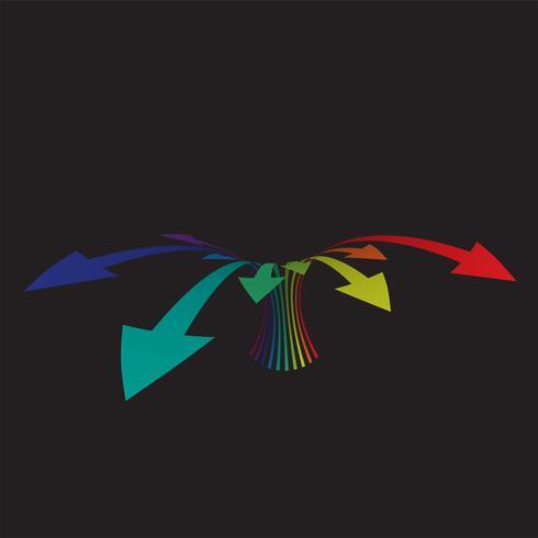 Frecce colorate su sfondo nero, illustrazione vettoriale
