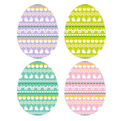 Huevos de Pascua con patrones de rayas de conejito vector
