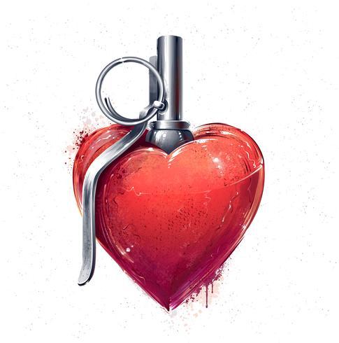 Corazón granada arte vector