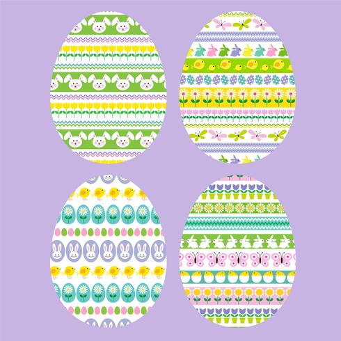 Easter eggs with stripe patterns vector