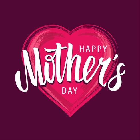 Glad mors dag Vektor bokstav på hjärtform