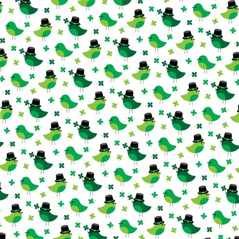 Saint Patricks Day motif oiseaux et trèfles mignons