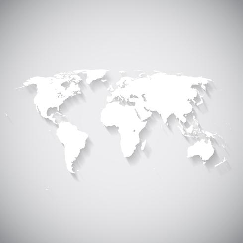 Mapa del mundo blanco, ilustración vectorial