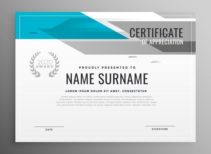moderno certificato geometrico del modello di apprezzamento