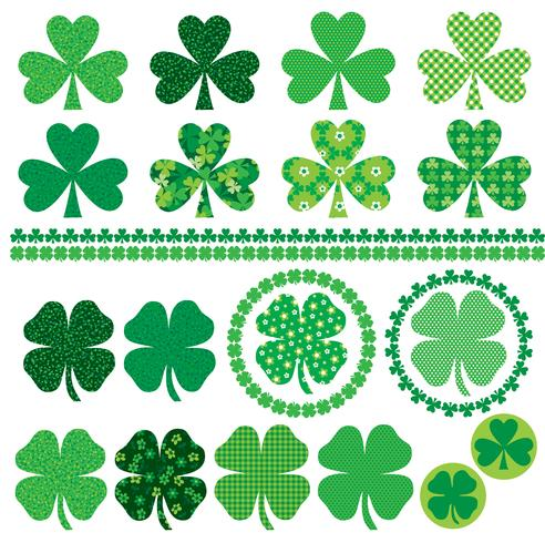 Saint Patrick's Day shamrock icons frames and borders