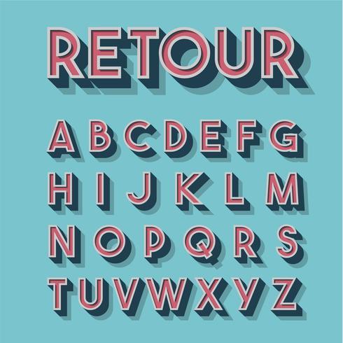 Conjunto de fontes 3D retrô, ilustração vetorial