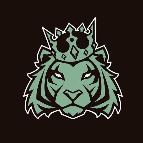 Tiger en Crown Vector Mascot