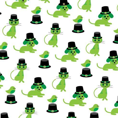 Saint Patrick's Day cats dogs birds pattern
