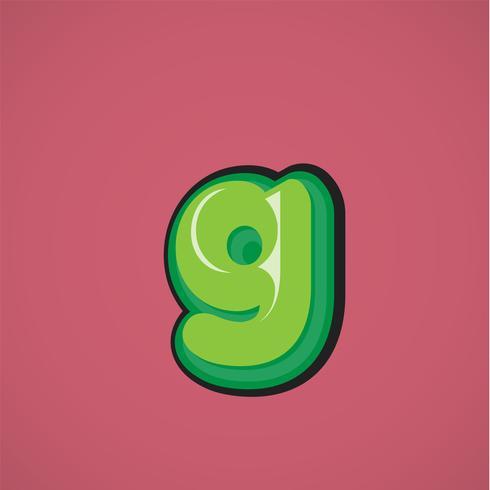 Personnage de bande dessinée verte d'une fontset, illustration vectorielle