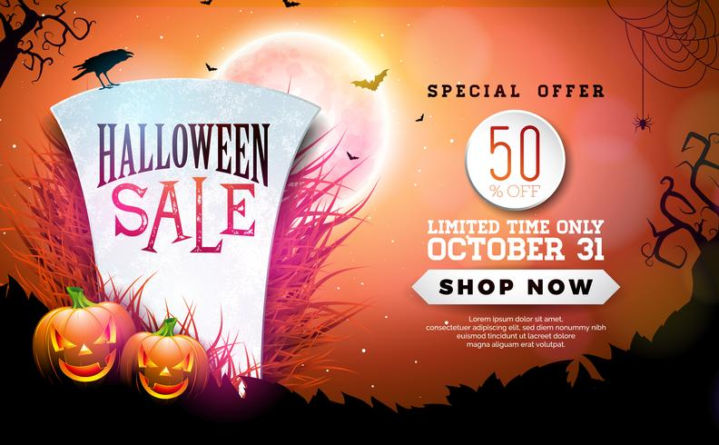Ilustração de banner de venda de Halloween