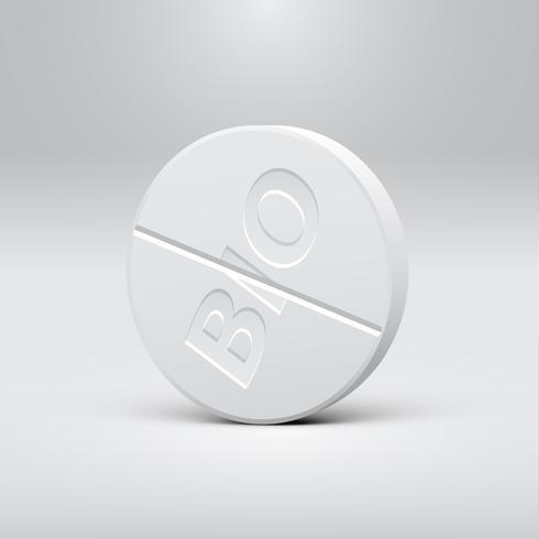 Píldora blanca sobre un fondo gris, ilustración vectorial realista