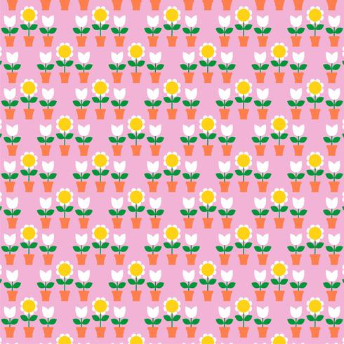 tulips and flowerpots pattern on pink