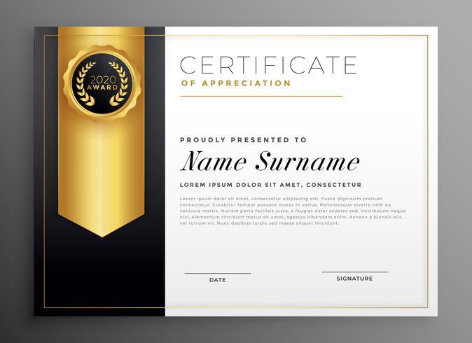 plantilla de diseño de certificado de empresa dorada