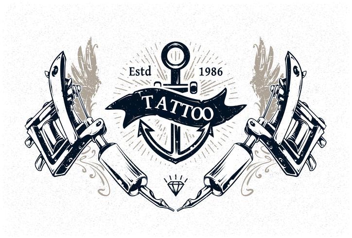 Cartel del estudio del tatuaje vector