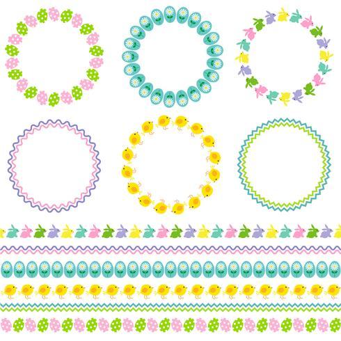 Cadres et bordures de cercle de Pâques vecteur
