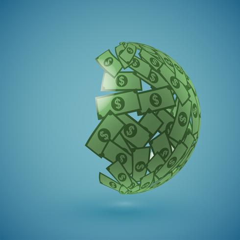 Green globe made of money, vector illustration
