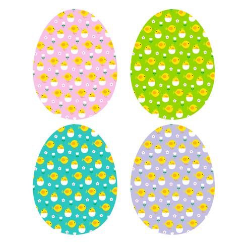 Easter eggs with hatching chick patterns vector