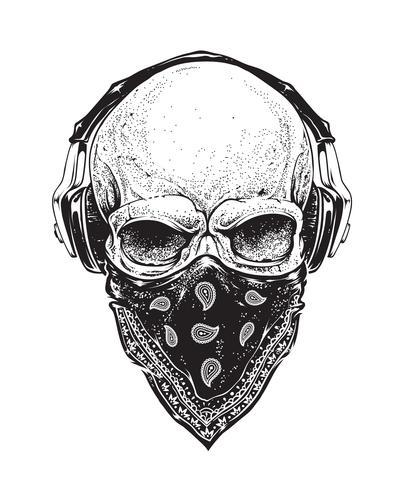 Schädel mit Kopfhörer