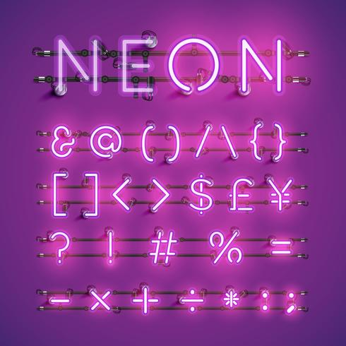Yellow realistic neon character set with wires and console, vector illustration