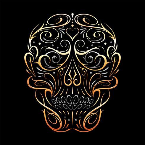 Resumen patrón de cráneo forma oro vector