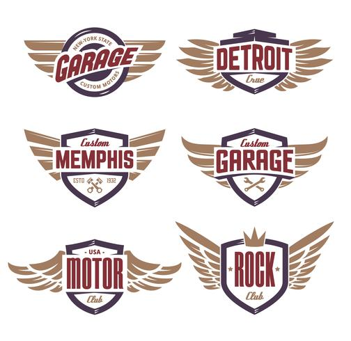 Conjunto de emblemas con alas. vector