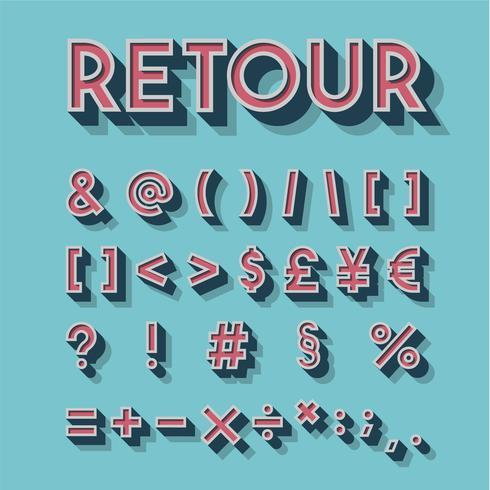 Retro set di caratteri 3D, illustrazione vettoriale