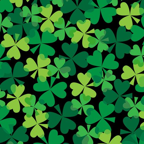 Saint Patrick's Day overlapping clover pattern vector