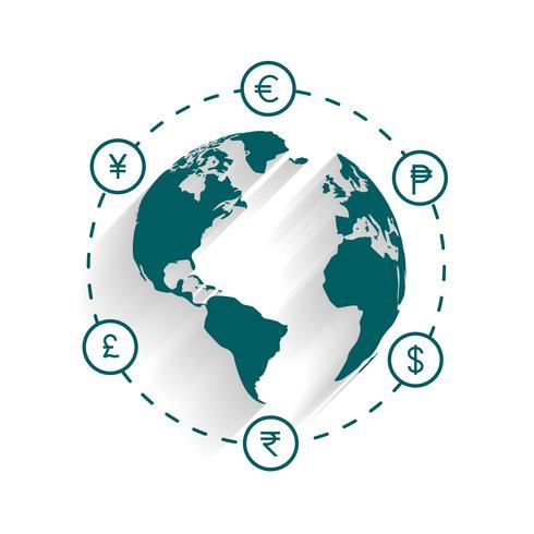 wereldwijde valuta geld uitwisseling of overdracht concept