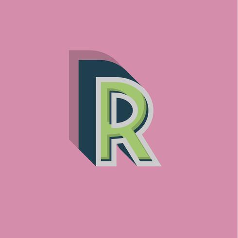 Personagem 3D retrô de um fontset, ilustração vetorial