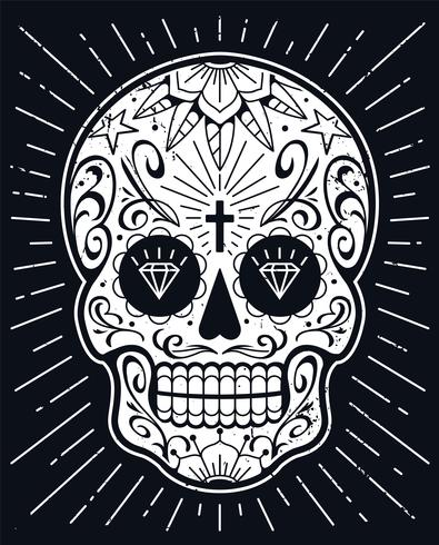 Vector Mexican Skull with Patterns
