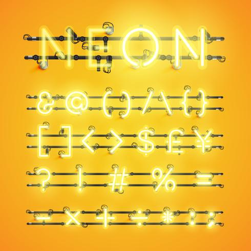 Personagem de néon realista amarelo cravejado de fios e console, ilustração vetorial